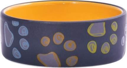 Миска для собак КерамикАрт, керамическая, черная с желтым, 420мл