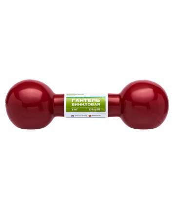Гантель виниловая DB-102 3 кг, темно-красная