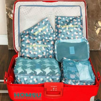 """Комплект из 6 органайзеров для багажа Homsu """"Синий Цветок"""""""