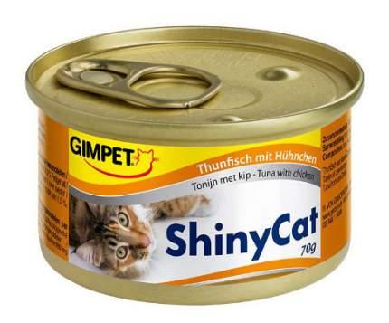 Консервы для кошек GimPet ShinyCat, тунец и цыпленок, 70г