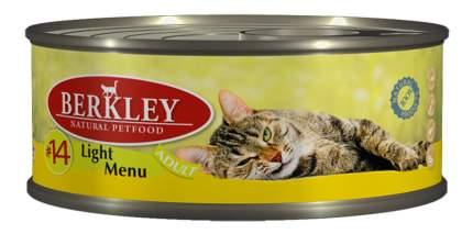 Консервы для кошек Berkley Adult Cat Light Menu, телятина, кролик, 6шт, 100г