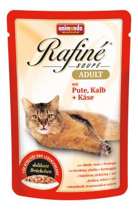 Влажный корм для кошек Animonda Rafine Soupe Adult, индейка, сыр, телятина, 24шт, 100г