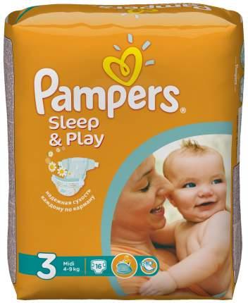 Подгузники Pampers Sleep & Play Midi 3 (4-9 кг), 16 шт.