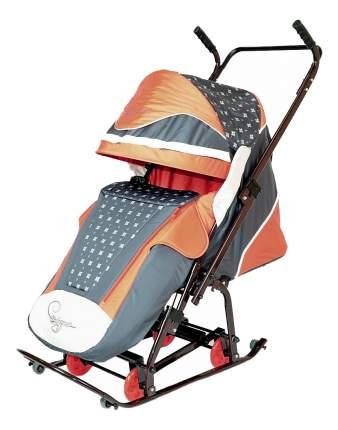 Санки-коляска R-Toys Скользяшки Мозаика коричневый/терракотовый/светло-бежевый