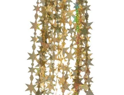 Kaemingk Дождик фигурный голографический Звездочки 50*40 см золотой 431752
