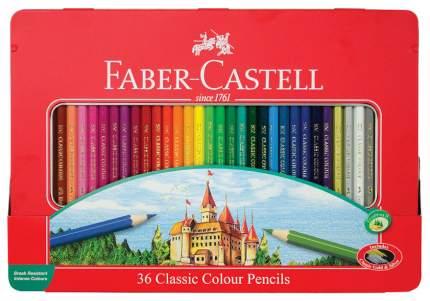Цветные карандаши Faber-Castell Замок в металлической коробке, 36 шт
