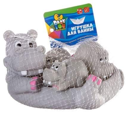 Набор игрушек для купания Bondibon Бегемот с бегемотиками 4 штуки В2757