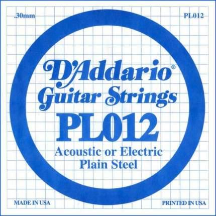 Одиночная струна для акустической и электрогитары D ADDARIO PL012