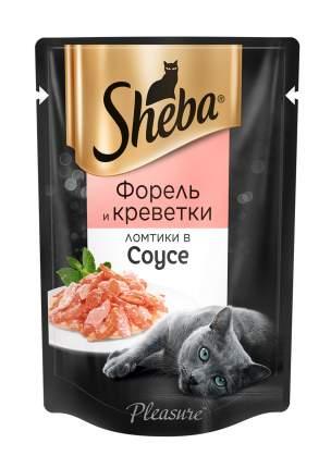 Влажный корм для кошек Sheba Pleasure ломтики из форели и креветок в соусе, 85г х 24шт