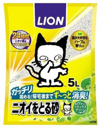 Комкующийся наполнитель для кошек Lion бентонитовый, аромат зелени, 5 л
