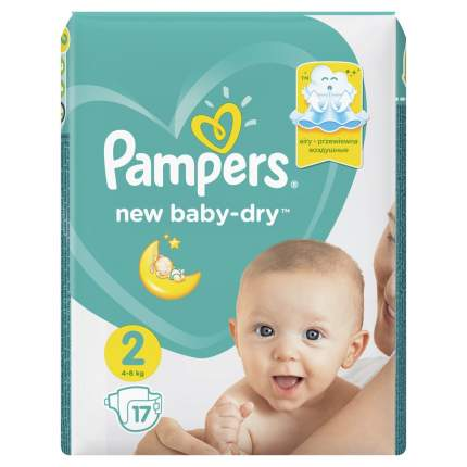 Подгузники Pampers New Baby-Dry 4–8 кг, размер 2, 17 шт.