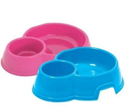 Двойная миска для кошек и собак Georplast, пластик, голубой, розовый, 0.8 л