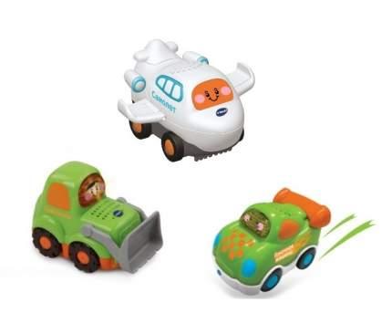 Игровой набор 3 машинки самолет, бульдозер, гоночная машина Toot-Toot Drivers VTECH
