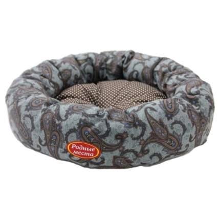 Лежак для собак Родные Места Ватрушка Огурцы серые, размер 50x50x15см.