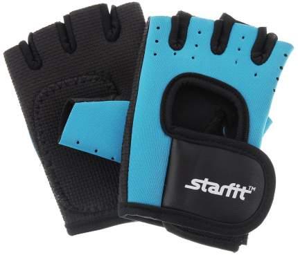 Перчатки для фитнеса StarFit SU-107, черные/голубые, 7