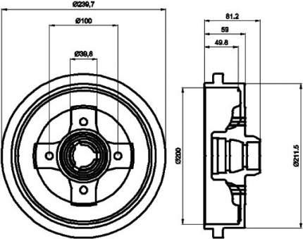 Тормозной барабан HELLA PAGID 8DT 355 301-701