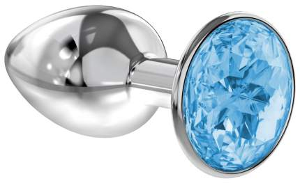 Серебристая анальная пробка Diamond Light blue Sparkle Small с голубым кристаллом 7 см