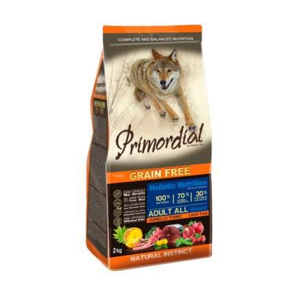 Сухой корм для собак Primordial Grain Free Adult All, тунец, ягненок, 2кг