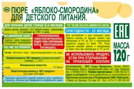 Пюре фруктовое Сады Придонья Яблоко-черная смородина с 5 мес 120 гр