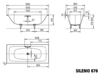 Стальная ванна KALDEWEI Silenio 676 Easy-clean 180х80 без гидромассажа