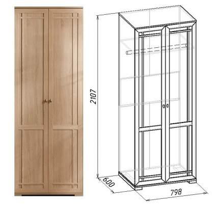 Платяной шкаф Глазов мебель Sherlock 12 GLZ_T0016322 79,8x59x210,7, дуб сонома
