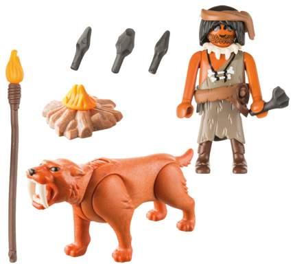 Игровой набор Playmobil Экстра-набор:Пещерный человек с саблезубым тигром