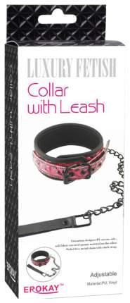 Чёрный кожаный ошейник с поводком Collar With Leash