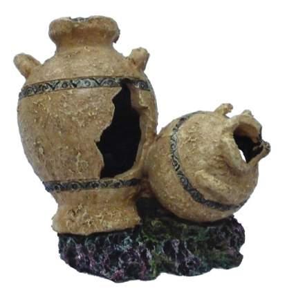 Грот для аквариума МЕЙДЖИНГ АКВАРИУМ Амфоры на камне, полиэфирная смола, 12х10х12 см