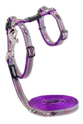 Комплект поводок и шлейка для кошек Rogz NightCat S-11мм 1,8 м (Фиолетовый CLJ08E)