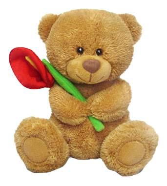 Мягкая игрушка LAVA Медвежонок Сэмми с красной каллой музыкальный