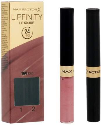 Стойкая губная помада и увлажняющий блеск MAX FACTOR Lipfinity, тон №160 Iced