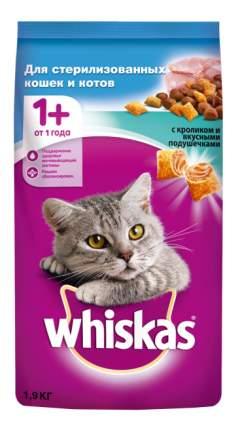 Сухой корм для стерилизованных кошек Whiskas, подушечки с кроликом, 4шт по 1,9кг