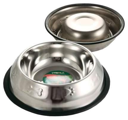 Одинарная миска для кошек и собак Triol, сталь, резина, серебристый, 0.4 л