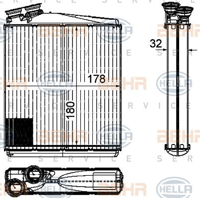 Радиатор отопителя Hella 8FH 351 315-541