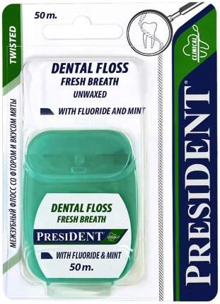 Зубная нить PresiDENT с фтором и мятой 50 м