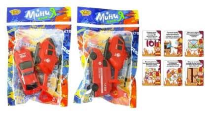 Игр.набор Пожарный, в комплекте: машина инерц., вертолет инерц., карточки 6шт., пакет