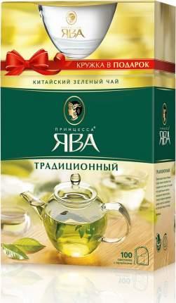 Чай зеленый Принцесса Ява традиционный с кружкой 100 пакетиков