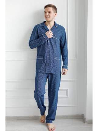 Мужская трикотажная пижама из кулирки LikaDress 6258 синяя, р.50