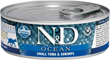 Консервы для кошек Farmina N&D Ocean, с тунцом, треской и креветками, 80г