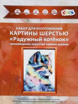 """Набор для изготовления картины шерстью Цветной """"Радужный котёнок"""" SH055"""