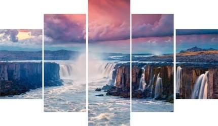 Модульная картина на холсте 100x70 Водопады вечер Ekoramka HE-107-234
