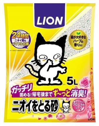 Комкующийся наполнитель для кошек Lion бентонитовый, цветочное мыло, 5 л