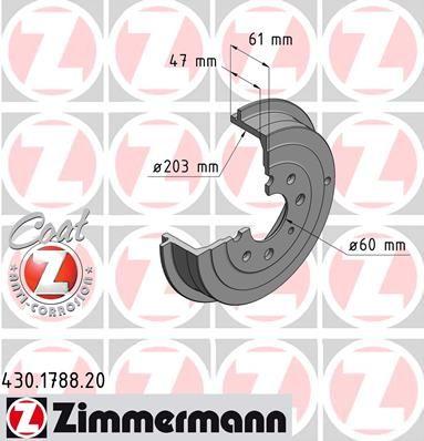 Тормозной барабан ZIMMERMANN 430.1788.20