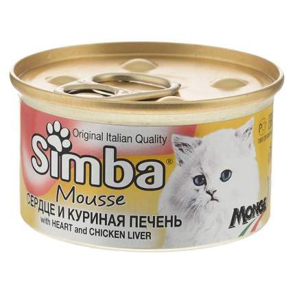 Консервы для кошек Simba Mousse, мусс с сердцем и куриной печенью, 24шт по 85г