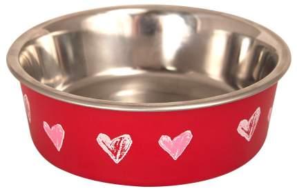 Миска для домашних животных Triol BL-19 Сердца, нержавеющая сталь, красная, 250 мл