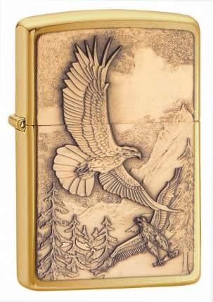 Бензиновая зажигалка Zippo Where Eagles Dare Emblem Brushed Brass