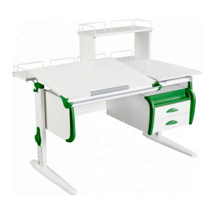 Парта Дэми СУТ-25-04Д WHITE DOUBLE со столешницей, белый, зеленый, белый,