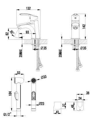 Смеситель с гигиеническим душем LEMARK  Plus Strike LM1116C хром