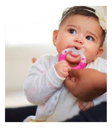 Прорезыватель классический MAM Bite & Brush teether бело-розовый