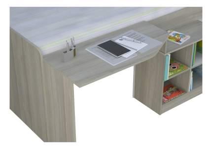 Кровать-чердак Polini Simple со столом и полками 4000 , вяз-белый